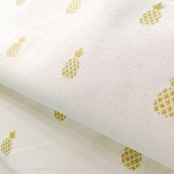 Metallic Gold  Mini Pineapple Fabric  by BebeFabricStudio on Etsy
