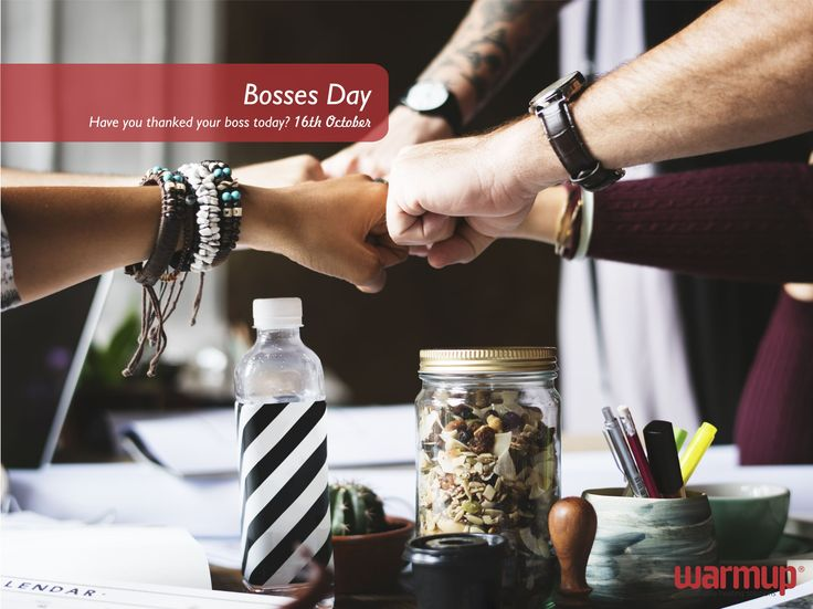 Happy Boss Day!  Tag your boss and hashtag #warmupboss - let us know how awesome your boss is! #warmupsa #bossday #bossesday #warmupyourfeet #nomoresocks