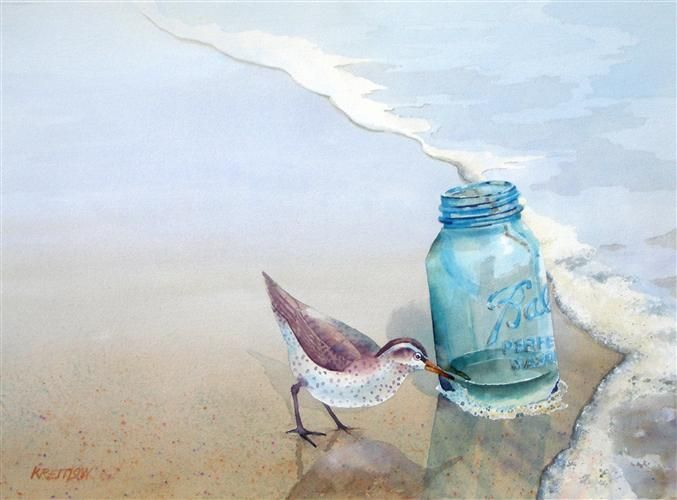 Blue Ball Jar and Sandpiper on the beach