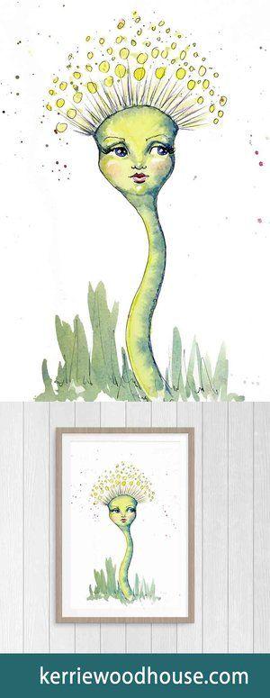 whimsical art print | kids decor | nursery art | green print | cute print | girls room | dandelion