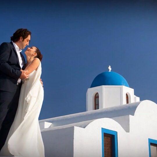 Couple, wedding, orthodox ceremony, imerovigli santorini, Greece, church, s.markos, love blue white