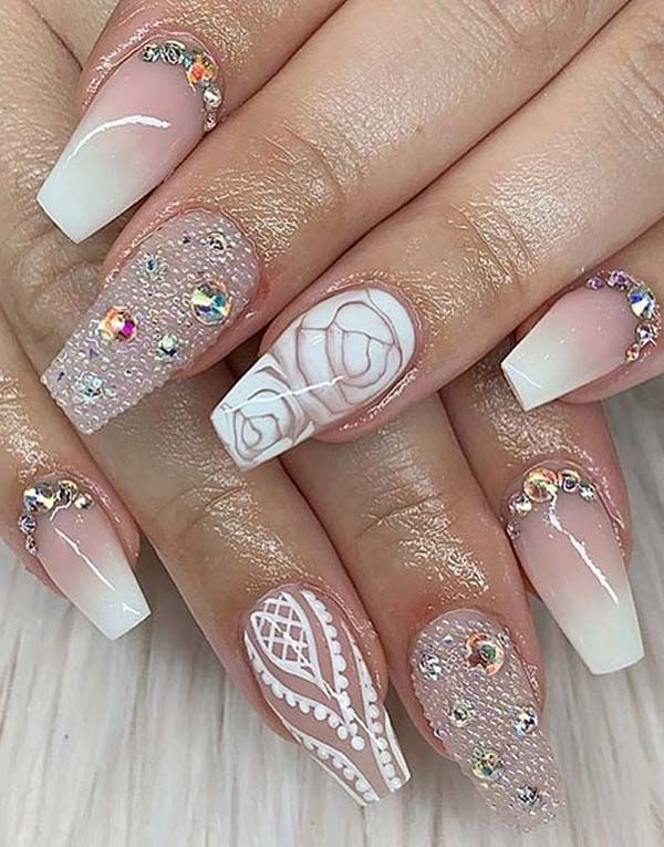 Adorable Pink And White Nail Art Designs For Women In 2019 With Images Best Nail Art Designs White Nail Art Nail Art Designs