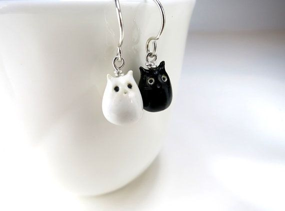 Cat Earrings Black White Cat Jewelry Gift Tiny Cat Black Cat White Cat Tiny Dangle Ceramic Cat Pair Cat Animal Earrings Cat Gift