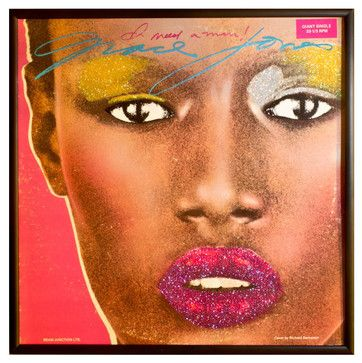 Glittered Grace Jones 'I Need a Man' Album - contemporary - Sports And Game Room Memorabilia - mmm designs