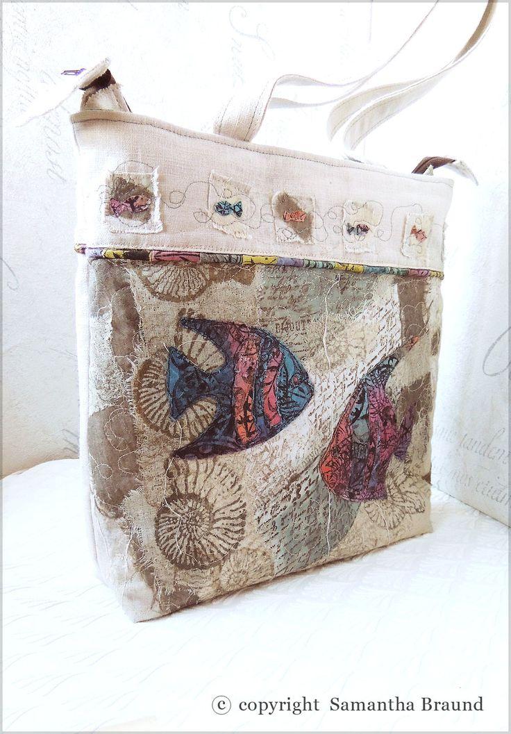 Samantha Braund Arts: Exotic Fish Collage Tote Bag