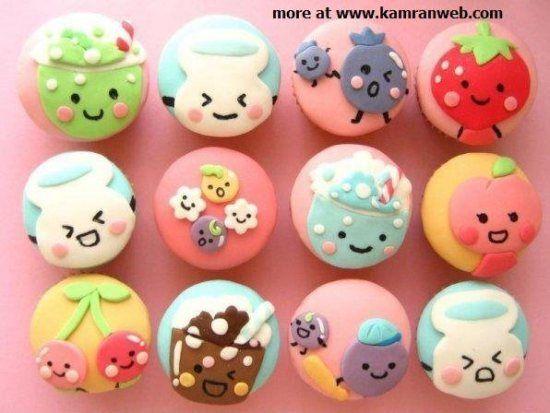 cute face cupcakes, kawaii food, dessert decoration Japanese, sanrio character, creative icing, bentos