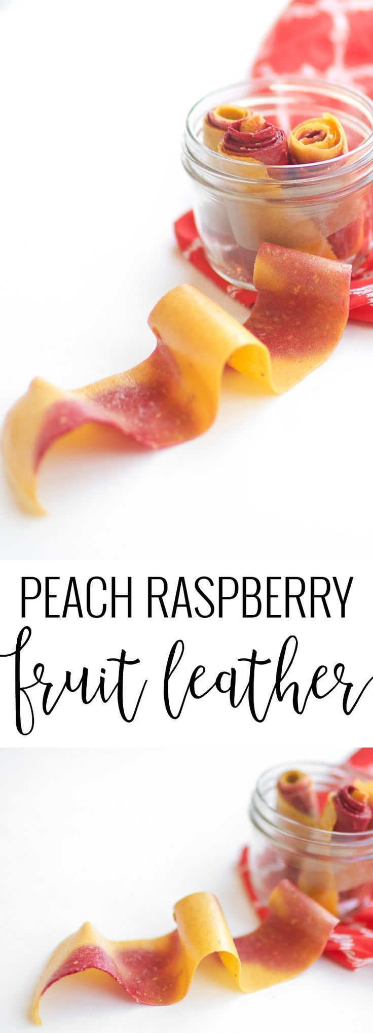 Peach Raspberry Fruit Leather | homemade fruit leather | how to make fruit leather | healthy snack ideas for kids | recipes using real fruit | real fruit snacks | real fruit roll ups | homemade fruit roll ups | fruit roll up recipe || Oh So Delicioso