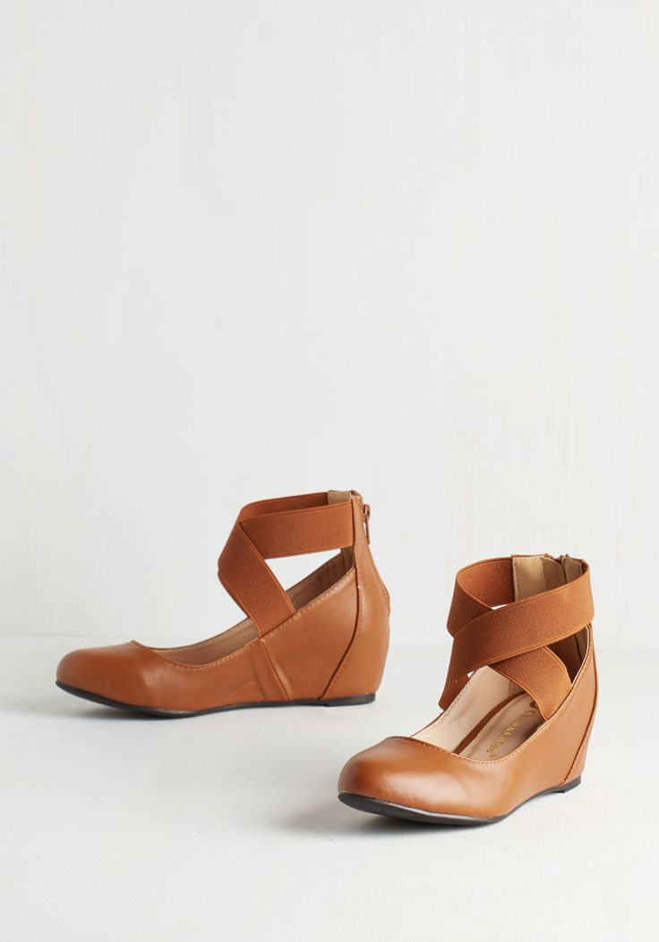 Limitless Loveliness Wedge in Cognac. Theres no end to the elegance that awaits in these cognac-brown shoes! #tan #modcloth