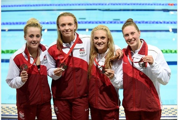 Siobhan-Marie O'CONNOR, Amelia MAUGHAN, Ellie FAULKNER and Rebecca TURNER [Bronze], [Women's 4x200m freestyle relay]  England
