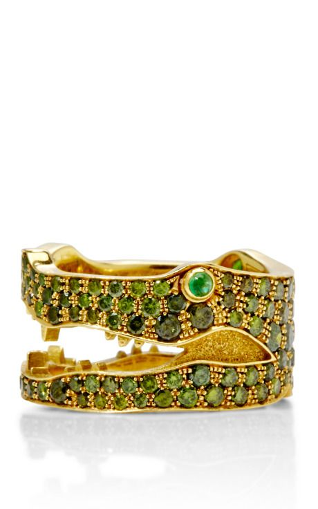 18K yellow gold and green diamond crocodile ring by Marc Alary