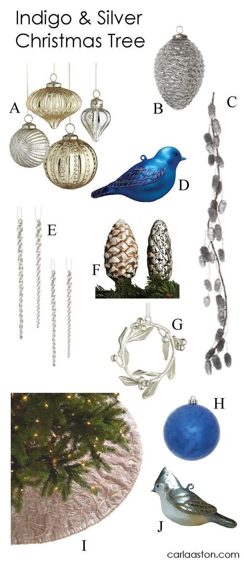 10 Must-Have Indigo & Silver Christmas Tree Decorations!