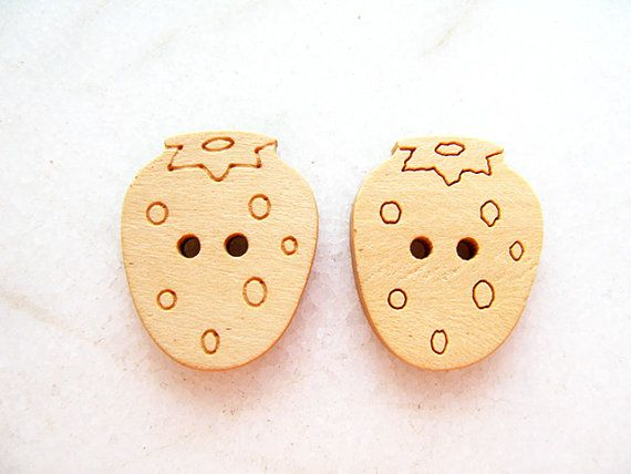 Wooden Strawberry Buttons Children Buttons Sewing by nezoshop, $2.60