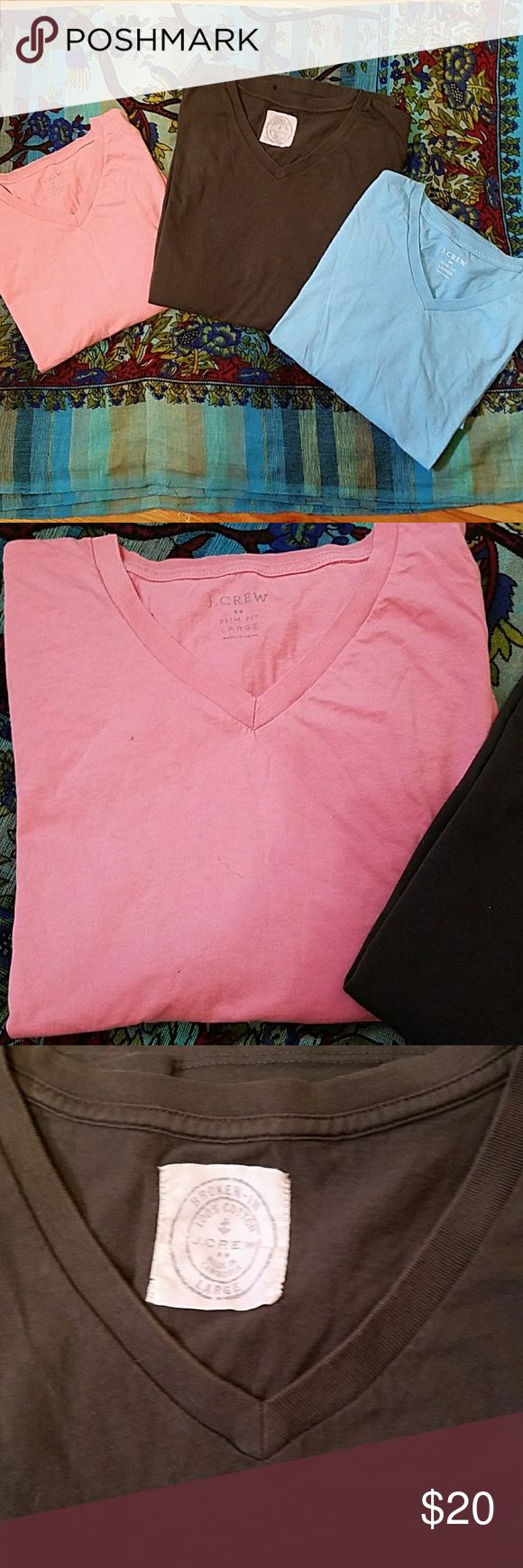 J CREW Short sleeve Tees Set of three J Crew Tee shirts for one great price!  Broken-in style.  In great condition. J. Crew Shirts Tees - Short Sleeve