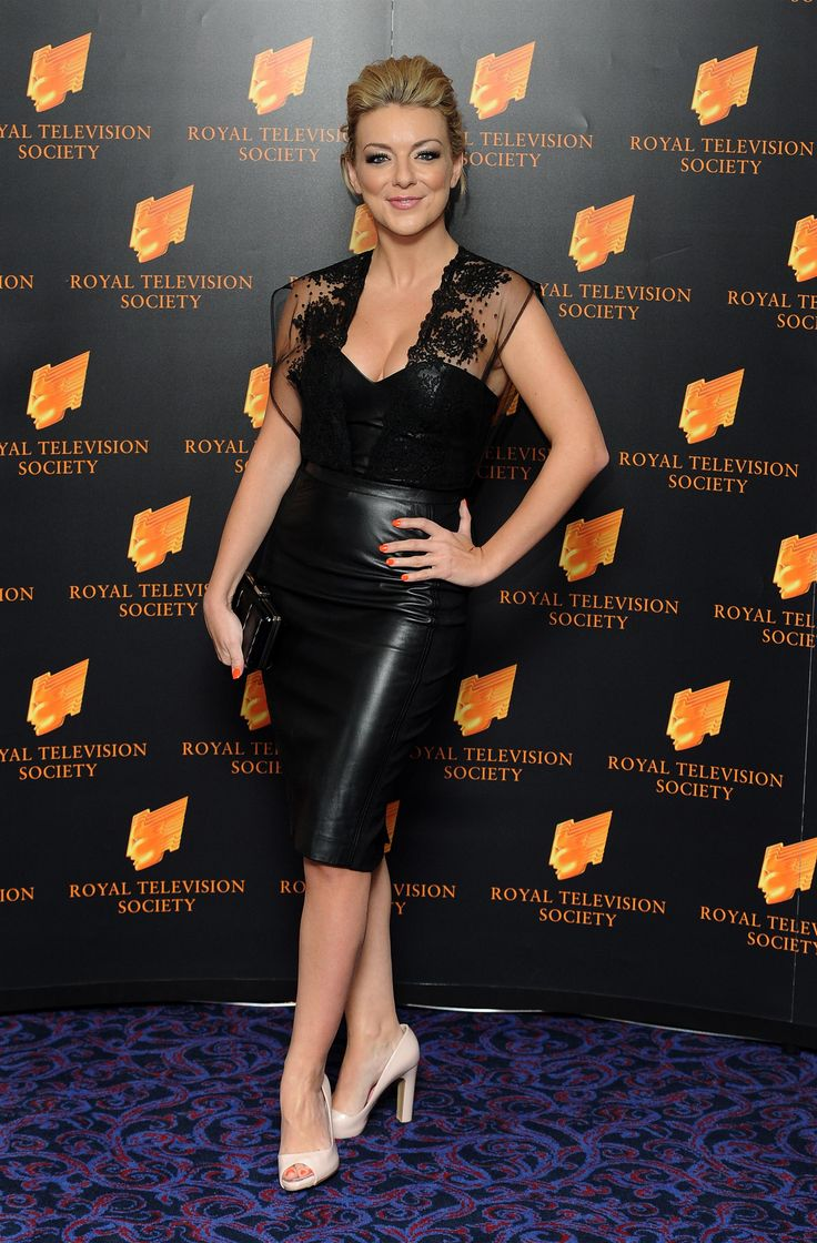 Sheridan Smith looks hot in a black leather skirt and leather top ...