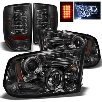 Dodge Ram 2009-2014 Smoked Projector Headlights and LED Tail Lights | A103U8BW213 - TopGearAutosport