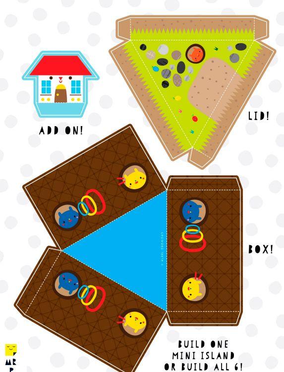 Шаблон №3 для объемной поделки из бумаги и картона -остров
