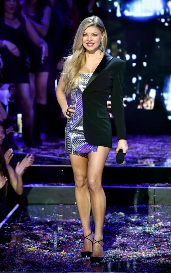 Glamorous Fergie hits the New Years Rock in Eve in Jean Paul Gaultier SS15