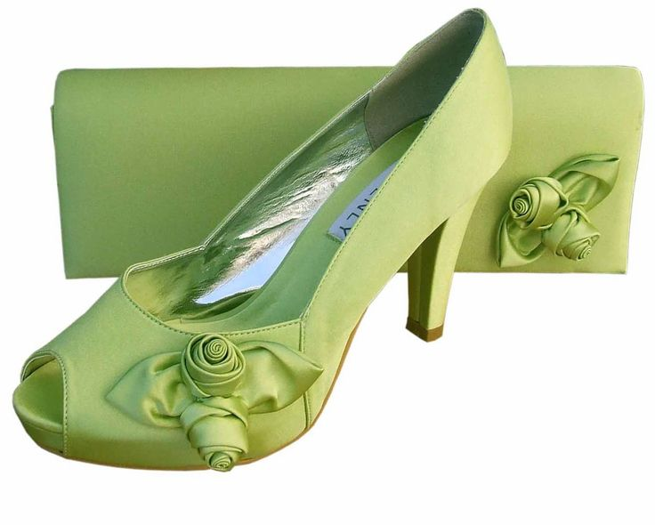 Ladies Lime Green Satin Platform Shoes.  Matching Clutch Bag available.  £65.00