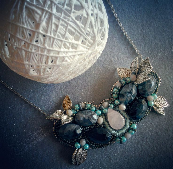 Handmade beaded necklace, leafes