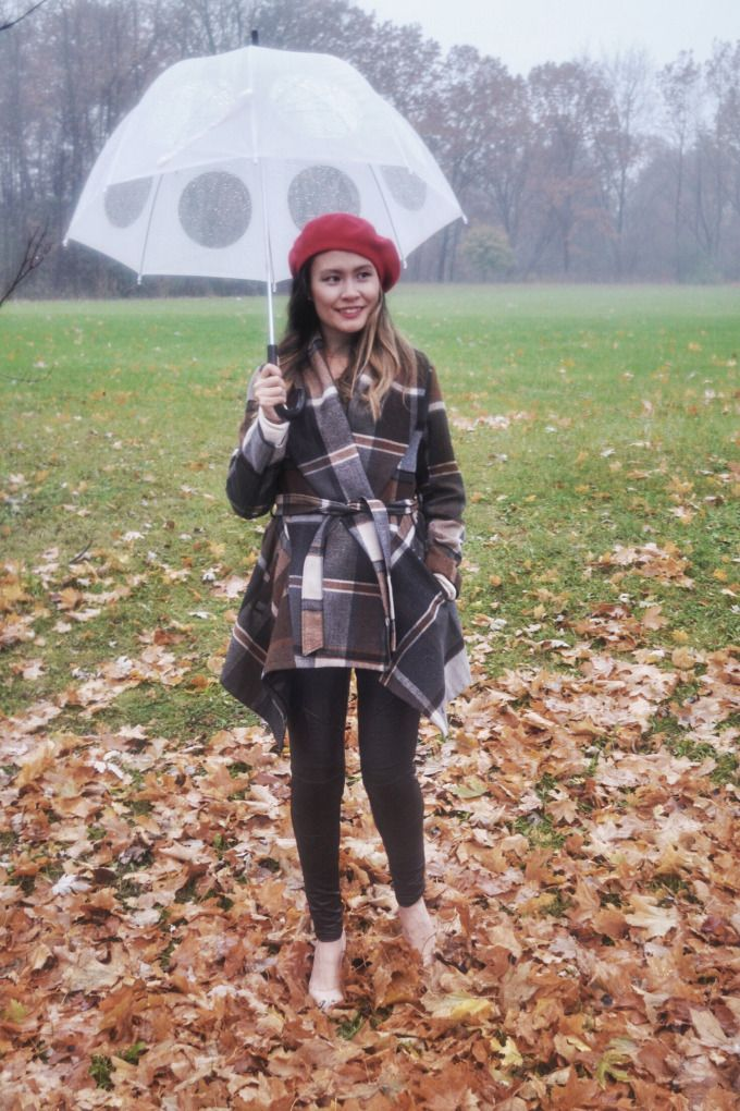 Plaid Coat and Red Beret