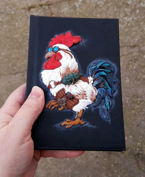 Journal notebook sketchbook book cover art cockerel by PolymerAnna