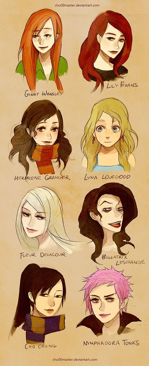 The Women of the Harry Potter book series - Ginny Weasley, Lily Evans, Hermione Granger, Luna Lovegood, Fleur Delacour, Bellatrix Lestrange, Cho Chang and Nymphadora Tonks.