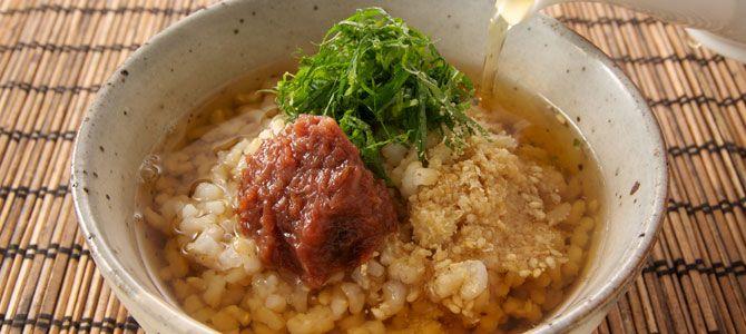α玄米で作る『ほうじ茶の梅茶漬け』