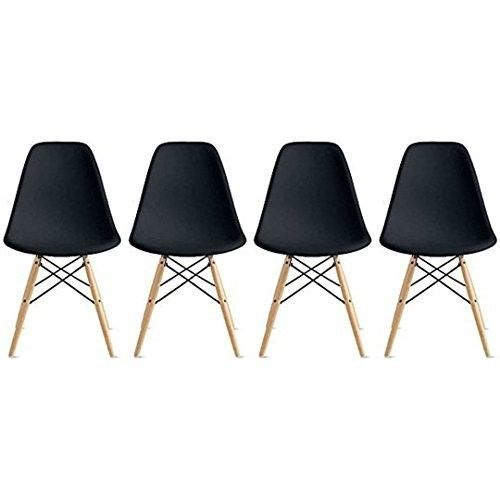 Eames-Style-Side-Chair-Natural-Wood-Legs-Dining-Room-Set-4-Black-Plastic-Seat
