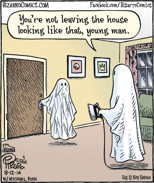 ghosts bizarro comic strip by dan piraro august 2014 - Halloween Humor Jokes