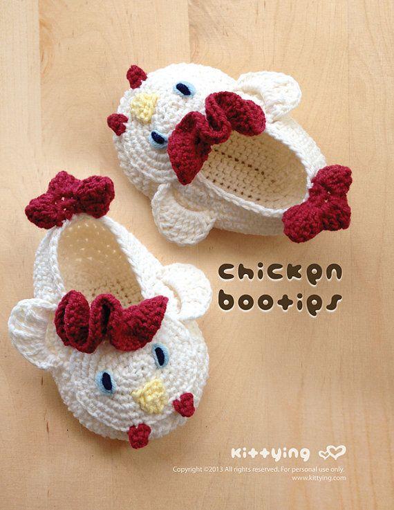 Patrón de bebé del ganchillo de los botines de pollo del gallo de bebés prematuros Calcetines polluelos apliques Gallo Gallo Zapatillas