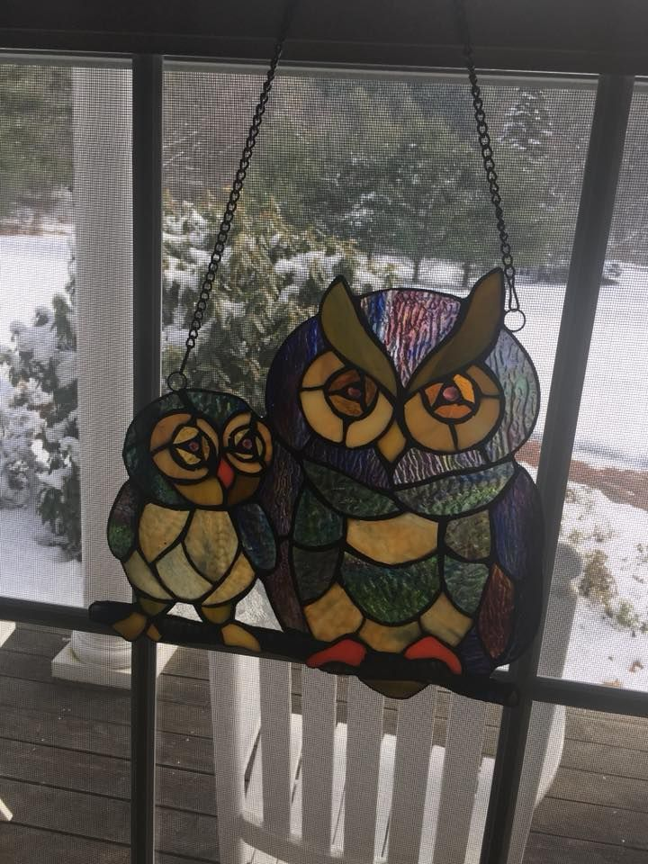 Zulily and Houzz=https://www.houzz.com/product/43291925-14470-tiffany-style-owl-glass-panel-craftsman-stained-glass-panels #StainedGlassOwl