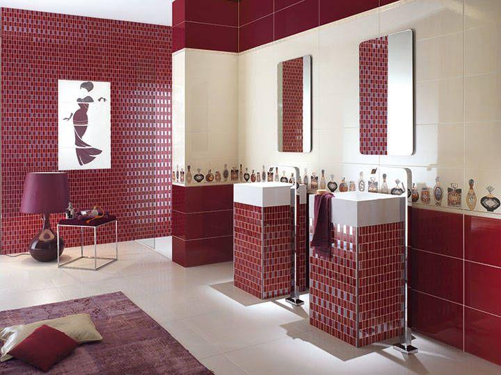 Klassista eleganssia moderniin kylpytilaan Class-malliston Bordeaux- ja Profumi-seinälaatoilla