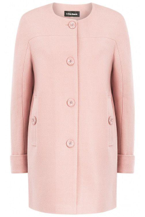 Розовое пальто без воротника