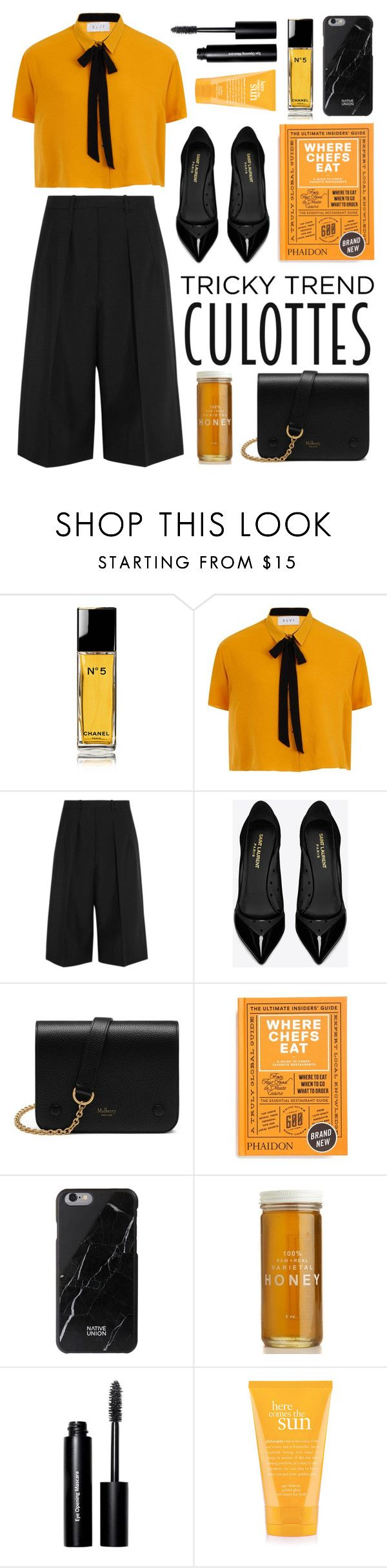 """""""tricky trend: culottes"""" by fernweeh on Polyvore featuring moda, Chanel, Elvi, Jil Sander, Yves Saint Laurent, Mulberry, PHAIDON, Native Union, Bobbi Brown Cosmetics i philosophy"""