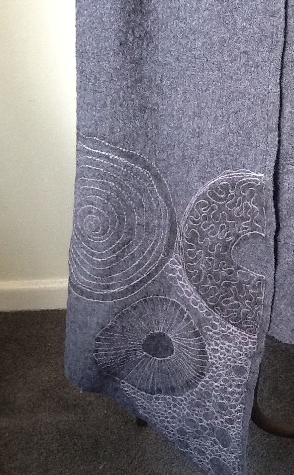 carole mcleod W13 asymmetric collar coat free motion machine embroidery detail