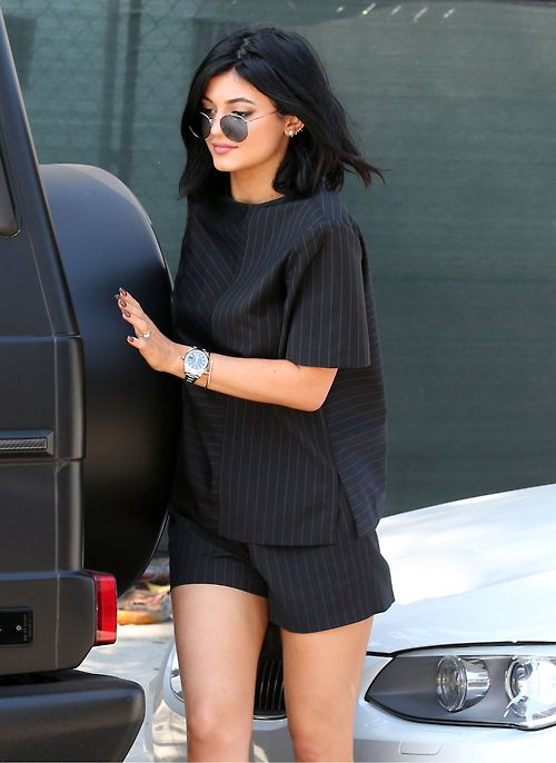 Kylie Jenner black on black pinstripe fall shorts menswear inspired