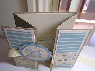 Stamping Passion: Double Z Fold Card.  für Julias 18. in rosa und creme glitzer