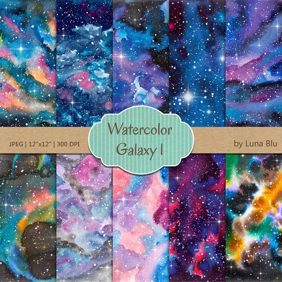 """Galaxy Digital Paper: """"Watercolor Galaxy"""" star digital paper, starry skies, outer space art, night sky digital paper, watercolor background"""