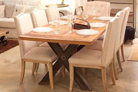 Mesa de comedor kitui en madera de olmo recuperado y for Mesas de madera para exterior