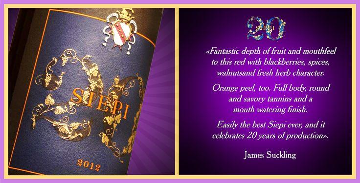 """""""Un carattere fantastico per questo rosso di grande profondità con aromi di frutta, more, mirtilli, spezie, noci, erbe fresche e anche buccia d'arancia. Corpo pieno, rotondo e tannini dolci con un finale che lascia l'acquolina in bocca. Senza dubbio il miglior Siepi di sempre che celebra 20 anni di produzione"""". James Suckling. #Siepi20 @marchesimazzei #mazzei #fonterutoli  #tuscany #wine"""