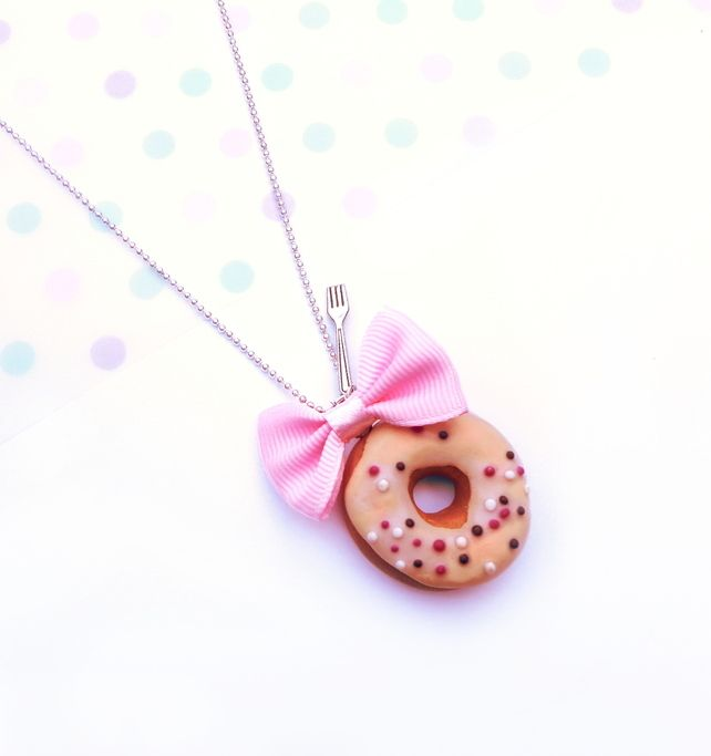 Sweet Donut with Pink Bow Necklace  £8.00