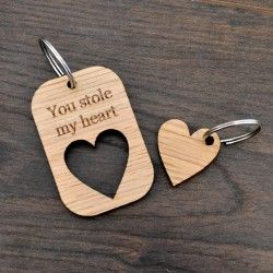 Personalised You Stole My Heart Valentines Day Love Keyring Present Gift