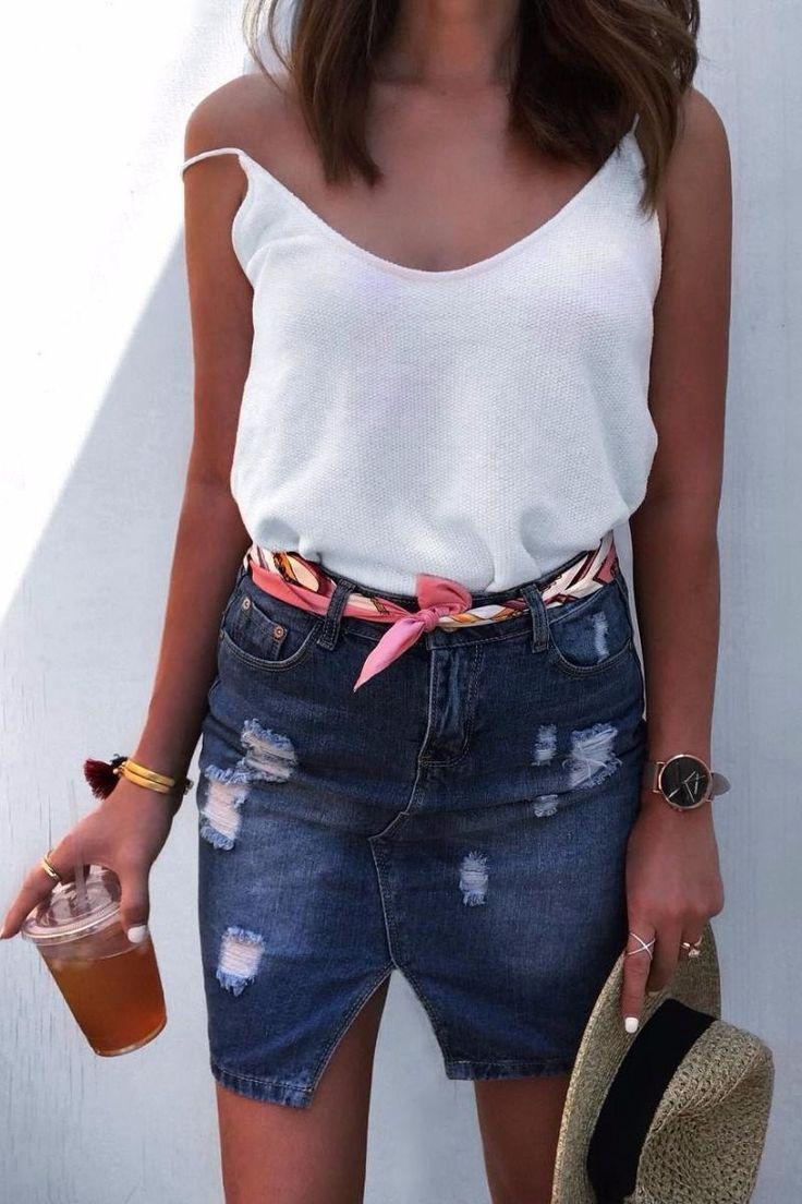 ootd top + denim skirt + hat