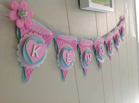 Girl Baby Shower Banner, Pink Baby Shower, Birthday Banner, Girl Name Banner…
