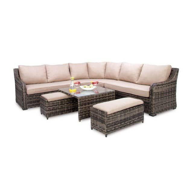 Die Lounge Laredo von casa Nova besteht aus grauem Rattan Kunststoffgeflecht und hellgrauen Kissen. Die Sitzlandschaft bietet Ihnen damit höchsten Komfort zum Sitzen und Entspannen. Die halbrunde Sitzgelegenheit passt mit dem schicken Stil in jeden Außenbereich und bietet der ganzen Familie und Freunden Platz zum Sitzen. Die Lounge-Gruppe besteht aus einer Lounge Bank (rechts, 84,5 x 142,5 x 84,5 cm), einer Lounge Bank (links, 84,5 x 142,5 x 84,5 cm), einer Lounge Ecke (92 x 174,5 x 84,5 cm)…