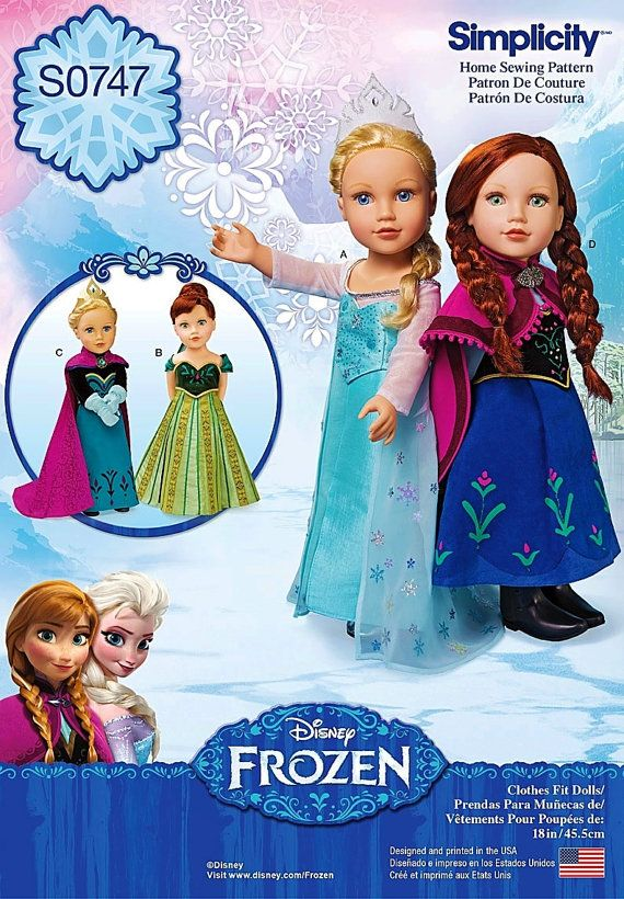 "18 inch Doll Frozen Dress Pattern, 18 inch Doll Elsa and Anna Dress,18"" Doll Clothes, Simplicity Sewing Pattern 1217"