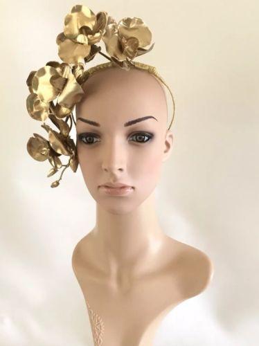 Gold Fascinator Melbourne Cup Weddings Hens Nights Formals Boho Headwear