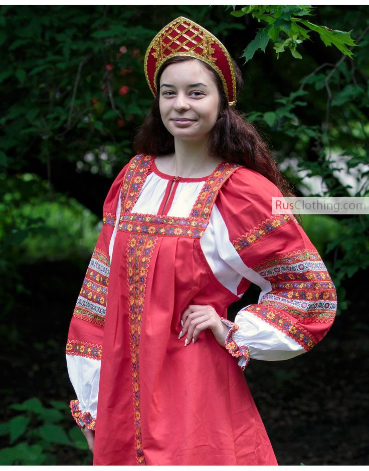 Russian folk cotton sarafan dress ''Dunyasha'' | RusClothing.com