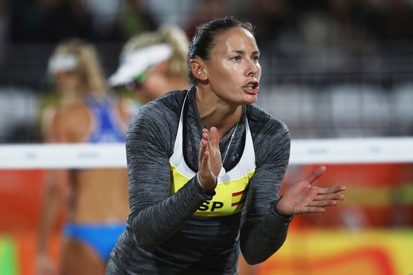 Liliana Fernandez Steiner Photos Photos - Liliana Fernandez Steiner of Spain in action during the Women's Round of 16 match against Ekaterina Birlova and Evgenia Ukolova of Russia on Day 7 of the Rio 2016 Olympic Games at the Beach Volleyball Arena on Aug