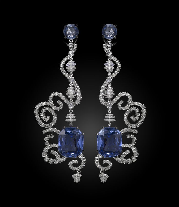 Carnet Spellbound earrings - diamonds and sapphires.  LOVE THESE!  www.thediamondconsignmentstore.com